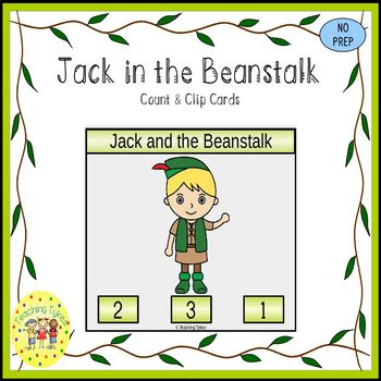 Jack and the Beanstalk Fairy Tales Count and Clip Task Cards
