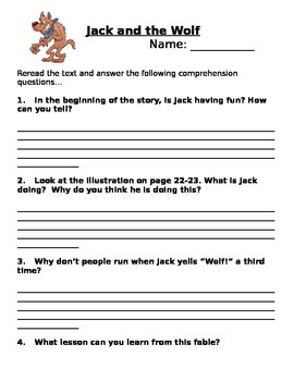 Jack and the Wolf Comprehension Quenstions