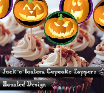 Jack-o-Lantern 2 inch Cupcake Topper Party Circle