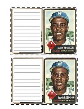 Jackie Robinson Baseball Card Writing Worksheet