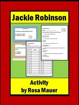 Jackie Robinson Baseball Task Cards