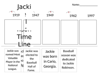 Jackie Robinson Cut Out Time Line