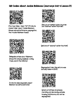 Jackie Robinson QR Codes (Journeys Unit 4 Lesson 17)