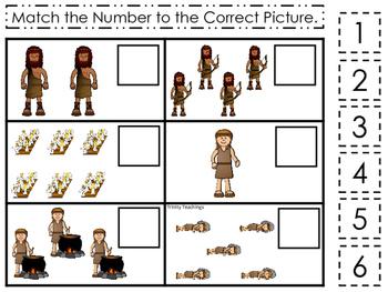 Jacob and Esau Match the Number printable game. Preschool