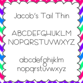 Jacob's Tail Thin Font {personal and commercial use; no li