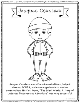 Jacques Cousteau Coloring Page Activity with Biography, Ma