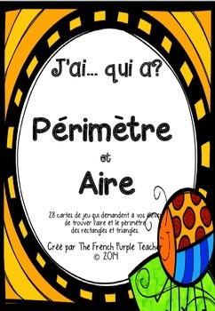 French I Have Who Has Math Game : Area and Perimeter - Air