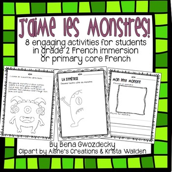 {J'aime les monstres!} Activities for grade 2 French immer