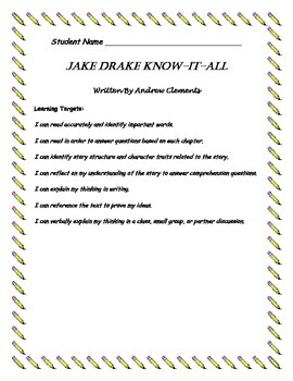 Jake Drake Know-It-All by Andrew Clements Student Comprehe