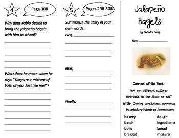 Jalapeno Bagels Trifold - Reading Street 3rd Grade Unit 5 Week 4