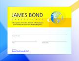 James Bond Certificate Award   Creativity, Science, Technology
