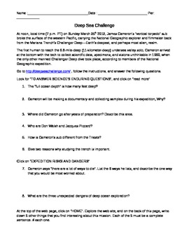 James Cameron's Deep Sea Challenge Questions