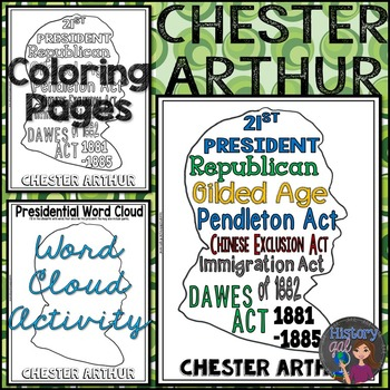 Chester Arthur Coloring Page and Word Cloud Activity