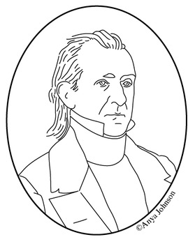 James K. Polk (11th President) Clip Art, Coloring Page or
