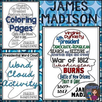 James Madison Coloring Page and Word Cloud Activity