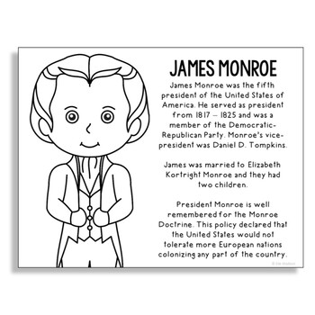 President James Monroe Coloring Page Activity or Poster wi
