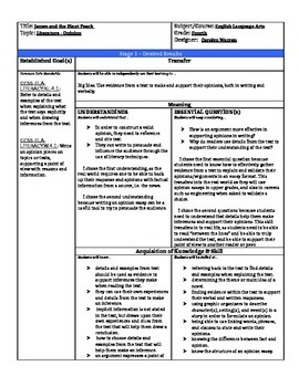 James and the Giant Peach Backwards Planned Lesson Plan