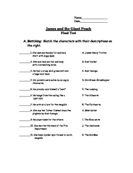 James and the Giant Peach Final Book Test