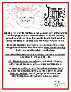 James and the Giant Peach Vocabulary Bingo