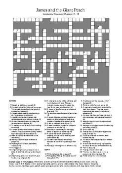 James and the Giant Peach - Vocabulary Crossword Chapters 17 & 18
