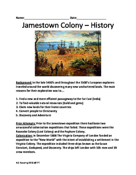 Jamestown Colony Virginia - History Facts Information Ques