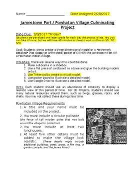Jamestown DBQ Culminating Project (Diorama, Tinkercad, Goo