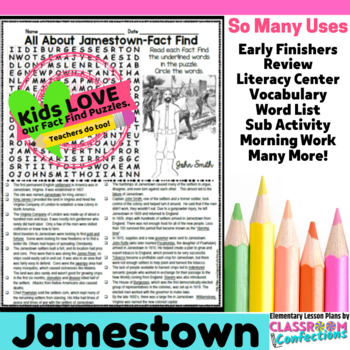 Jamestown Activity: Jamestown Word Search (non-fiction, re