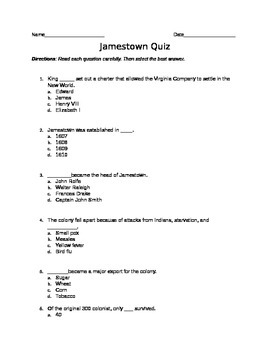 Jamestown quiz