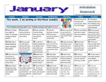 January 2015 Articulation Homework
