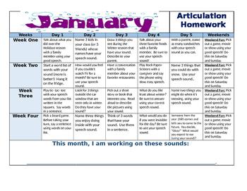 January 2016 Articulation Calendar