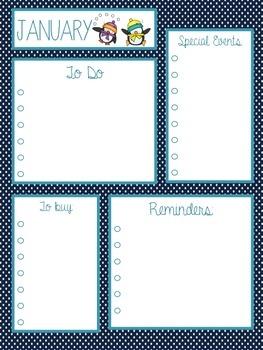 January Calendar & To Do List