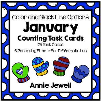 January and Winter Counting Task Cards for Kindergarten an