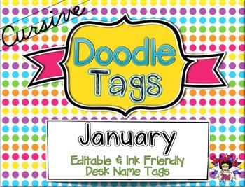January Cursive Doodle Tags - Ink Friendly Editable Desk N