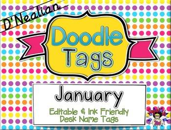 January D'Nealian Doodle Tags - Ink Friendly Editable Desk