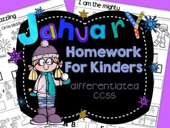 Homework: Kindergarten January Daily Core Packet (Differen