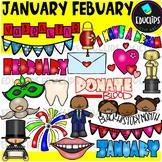 January February Clip Art Bundle {Educlips Clipart}