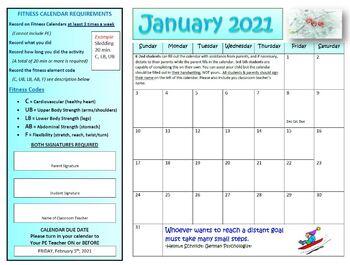 January Fitness Calendar 2017