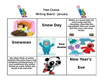 January Free Choice Writing Board