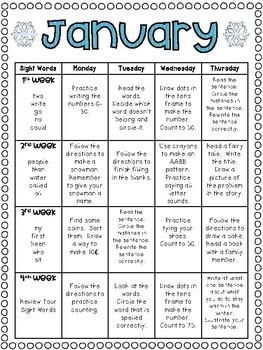 January Homework Calendar: A Month of Homework for Kinderg