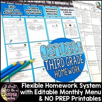 Third Grade Homework January {30+ NO PREP Printables & Edi