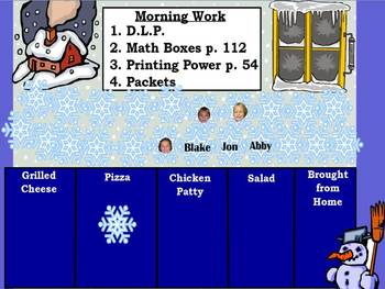 January Interactive Attendance and Lunch Count Flipchart