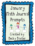 January Math Journal Prompts- Kindergarten CC