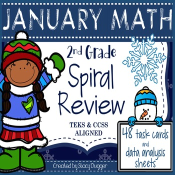January Math Spiral Review (48 Task Cards & Data Sheets)