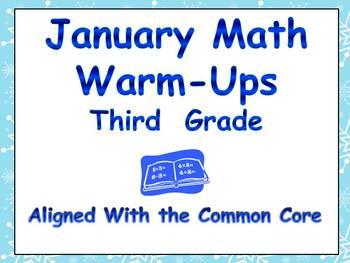 January Math Warm-Ups- Third Grade Common Core Aligned