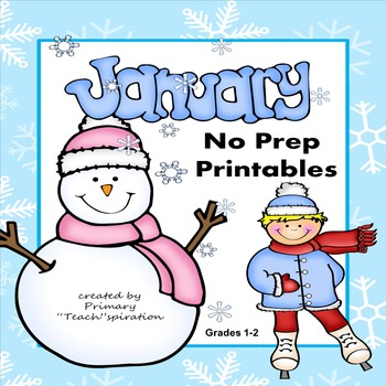 January Math and Literacy NO PREP Winter Printables for Co