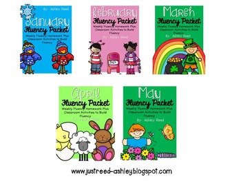 January - May Fluency Homework Packet Bundle