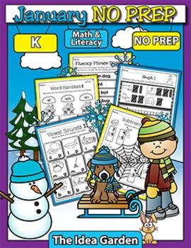 January NO PREP - Math & Literacy (Kindergarten)