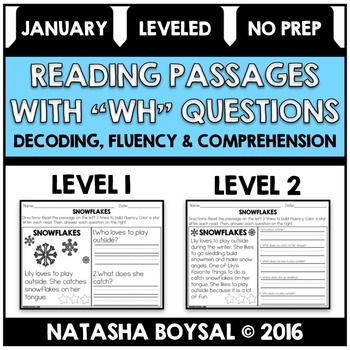 "January Reading Comprehension Passages with ""WH"" Questions"