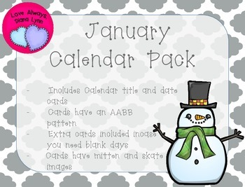 January Quatrefoil Calendar Set