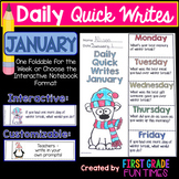 Winter Activities Writing Prompts January Quick Writes